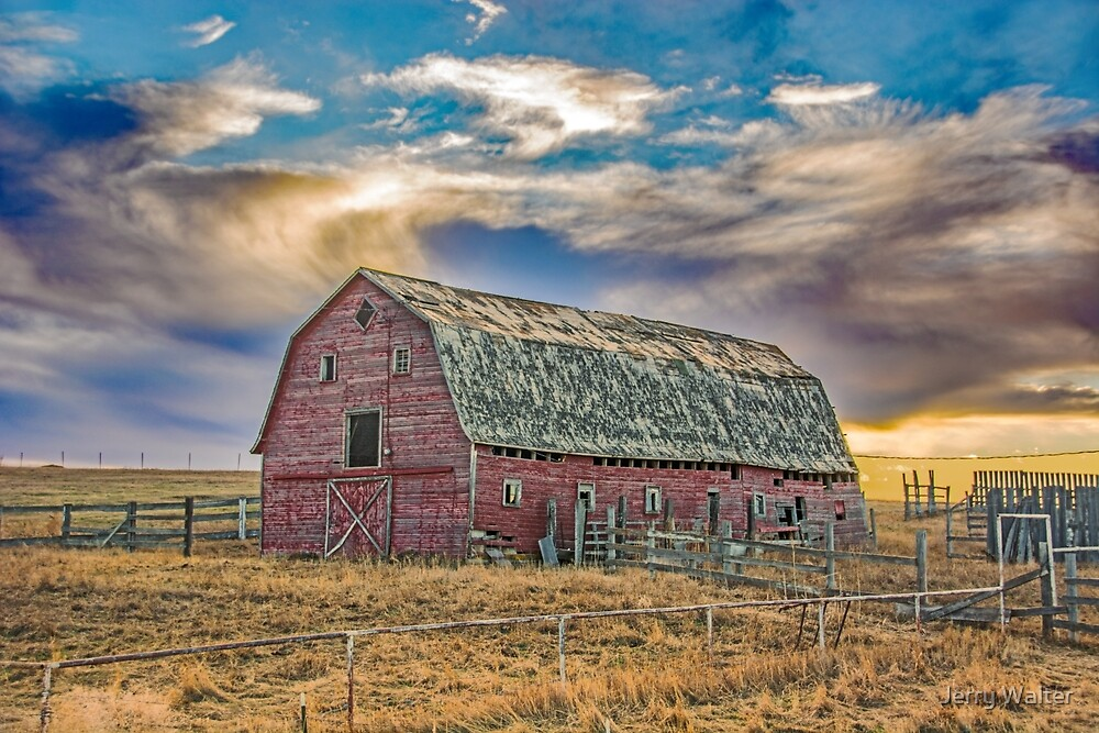 Old Barn at Sunset by Jerry Walter