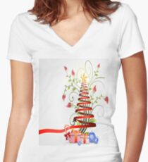 Holiday Christmas Tree Ribbon Women's Fitted V-Neck T-Shirt
