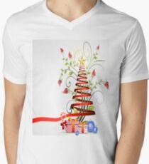 Holiday Christmas Tree Ribbon Men's V-Neck T-Shirt
