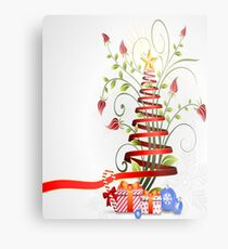 Holiday Christmas Tree Ribbon Metal Print