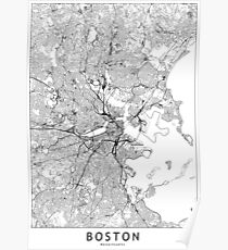 Boston White Map Poster