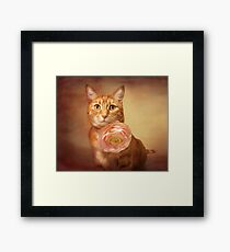 Gracie with rose Framed Print
