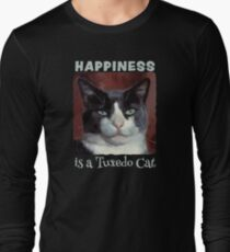 Happiness is a Tuxedo Cat - painterly cat design T-Shirt