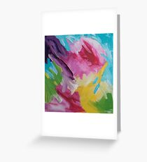 """""""Tickled"""" Happy Colorful Abstract Painting Greeting Card"""
