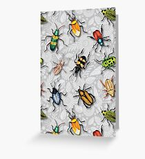 A Bunch of Beetles - Colorful Insect Pattern Greeting Card