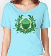 Green shield with oak leaves Women's Relaxed Fit T-Shirt