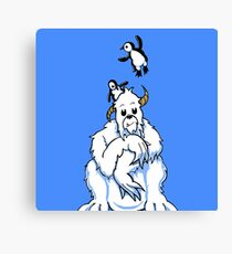 Bored Yeti and Penguins MKII Canvas Print
