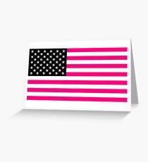 pink american flag Greeting Card