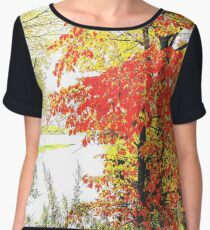 Autumn forest on the river bank. Women's Chiffon Top