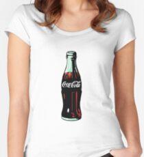 Pop-Art-Coca-Cola-Flasche Tailliertes Rundhals-Shirt