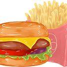 Cheeseburger and Fries by aidadaism