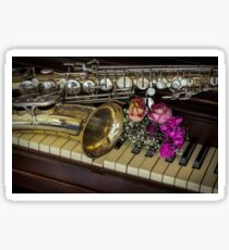 Flowers Saxophone Piano  Sticker