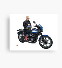 Girl on a motorcycle Canvas Print