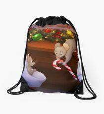 Christmas Stocking Mice Drawstring Bag