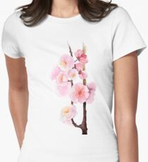 watercolor flowers of apricot Womens Fitted T-Shirt
