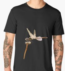 Dragonfly Resting On Seed Head Isolated  Men's Premium T-Shirt