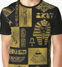 Egyptian  Gold hieroglyphs and symbols collage Graphic T-Shirt