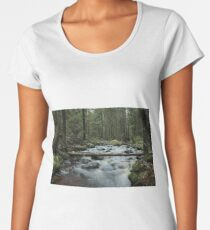 fast white river in the coniferous forest Women's Premium T-Shirt