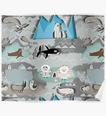 arctic animals grey Poster