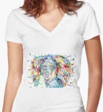 WATERCOLOR SALUKI Women's Fitted V-Neck T-Shirt