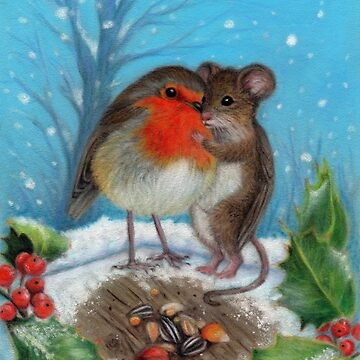 Christmas Robin and Mouse by Kazbah