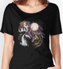 Magical Three Unicorn Moon Shirt Women's Relaxed Fit T-Shirt