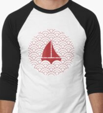 sailing boats on waves, brick red and white II T-Shirt