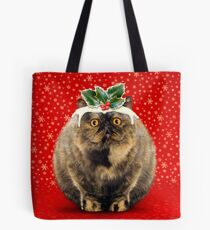 Funny Fat Christmas Pudding Cat Tote Bag
