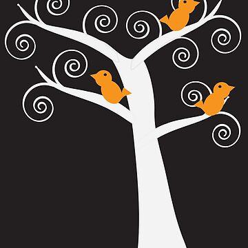 Five Orange Birds in a White Tree Black Background by ValeriesGallery