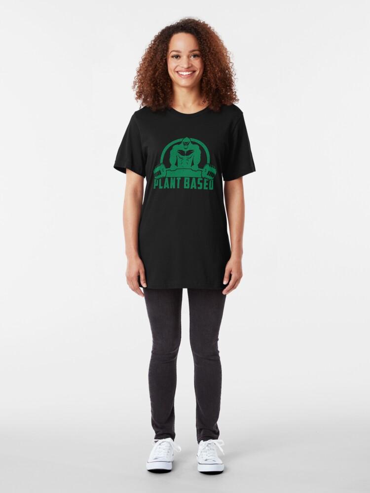 Alternative Ansicht von Plant Based Vegan Gorilla - Funny Workout Quote Gift Slim Fit T-Shirt