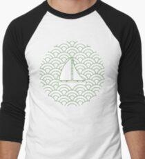 sailing boats on waves, medium green and white T-Shirt