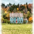 Watercolor New England Colonial Home by Edward Fielding