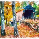 Watercolor New England Covered Bridge by Edward Fielding