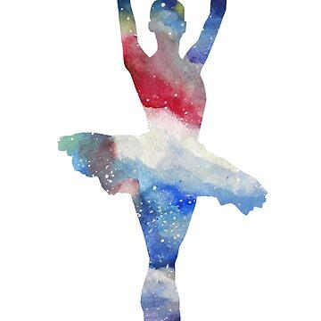 Ballerina Space Watercolor Art  by Manitarka