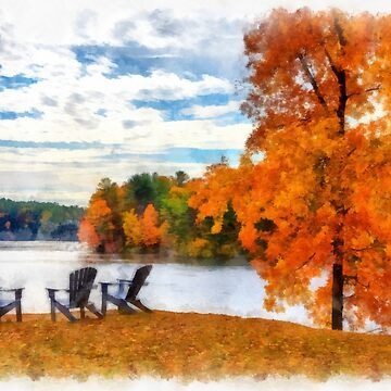 Watercolor Connecticut River from Norwich Vermont by peanutroaster