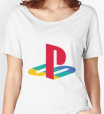 playstation rainbow logo Women's Relaxed Fit T-Shirt