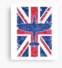 Supermarine Spitfire & British Union Jack Vintage WWII Design Canvas Print