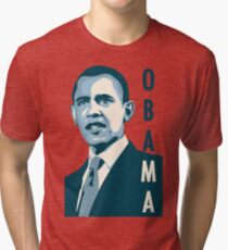 obama : verticle text Tri-blend T-Shirt