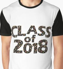 Class of 2018 Black Silhouette Filled with Guitars Graphic T-Shirt