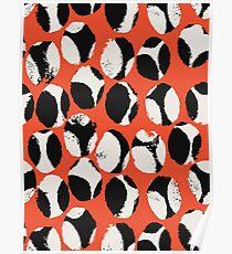 BEETLES AND STONES, orange, black, cream Poster