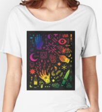 pattern creepy rainbow Women's Relaxed Fit T-Shirt
