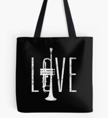 LOVE L-O-V-E Trumpet Distressed Art Tote Bag