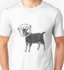 Astronaut Space Goat Farm Animal Black and White  T-Shirt