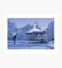 Music Kiosk in the snow - in blue Art Print