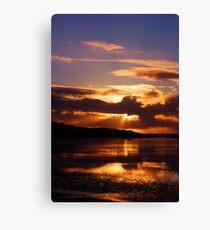 Morecambe Bay Sunset-Molten Gold Canvas Print