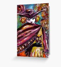 FAUST / Mysterious Mask with Tricorn and Owl Greeting Card