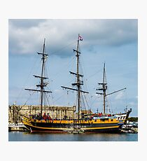 Old pirate frigate and boats in St-Malo, France Photographic Print