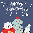 Polar Bear and Penguin Christmas Pattern by lasgalenarts