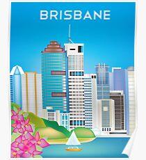 Brisbane, Australia - Skyline Illustration by Loose Petals Poster