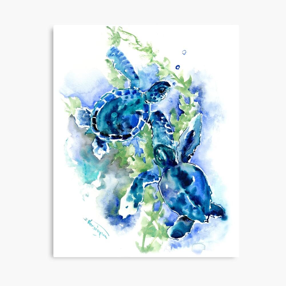 Sea Turtles Turquoise BLue design Canvas Print